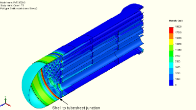 Deformation plot with the displacements magnified 100x. The rotation of the tubesheet with the adjacent shell bending it causes can be seen.