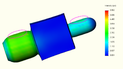 Manifold block CosmosDesigner stress plot.