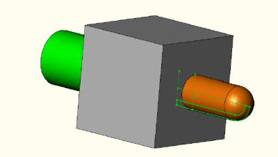 Manifold block with capped pipe.