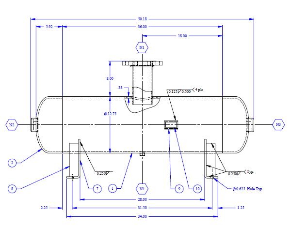 Sample drawing of a standard pressure vessel for ASME audits.