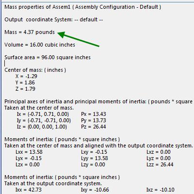 Displaying mass of 4.37 lbs