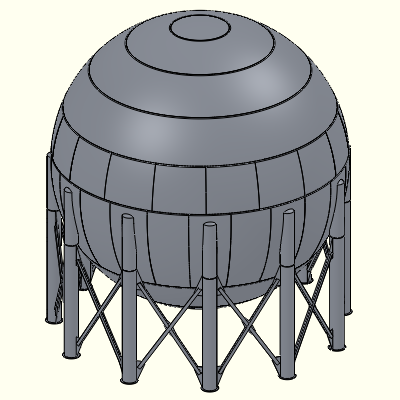 SolidWorks image - large propane storage sphere