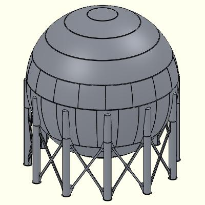 SolidWorks image - large propane storage sphere