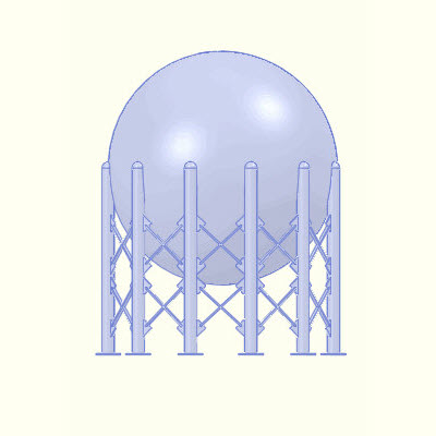 Front view of a storage sphere meshed.