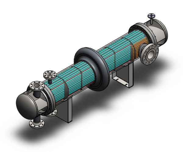 SolidWorks Drawing of a Heat Exchanger.