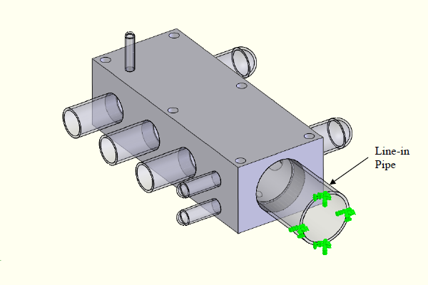 FEA model - fixed restraint is placed on the end face of the in-line pipe