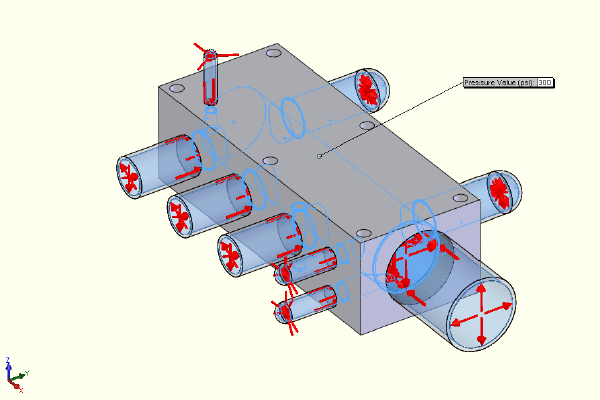 FEA model - internal cavity surfaces are pressurized to 300 psi