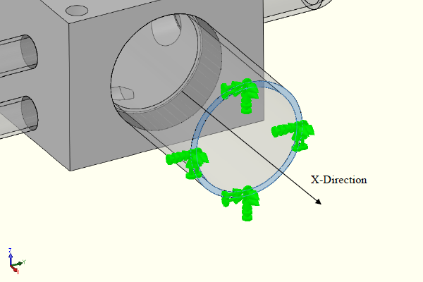 FEA model showing x-direction out of balance.