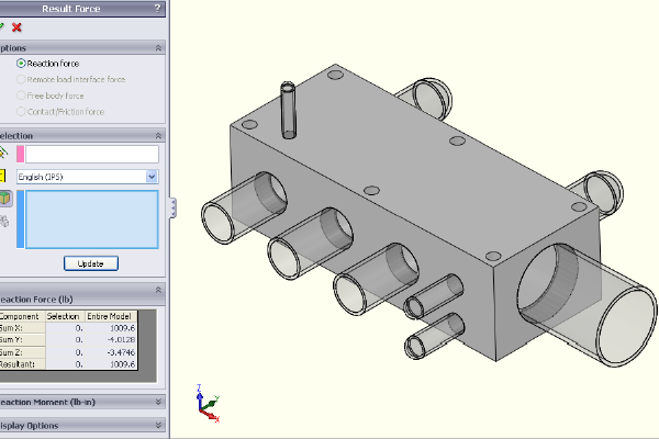 FEA model - final reaction components.