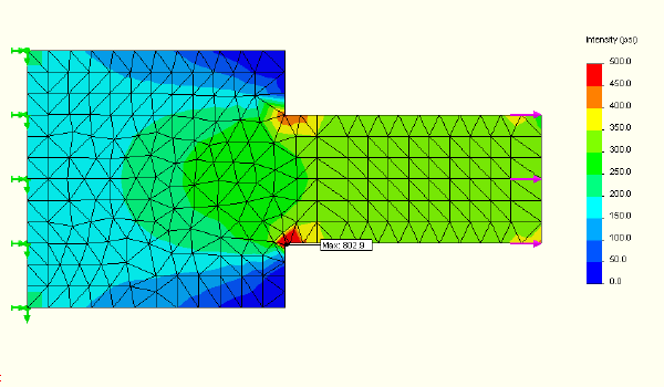 FEA model of flat plate with 1 inch mesh.