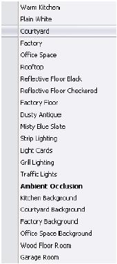 Screen capture of colour menu.