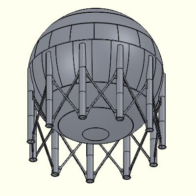The standard storage sphere analyzed for Conrex