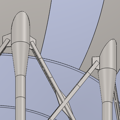 The experimental attachment showing the v-plate directly attaching to the shell and the reduced lower leg diameter