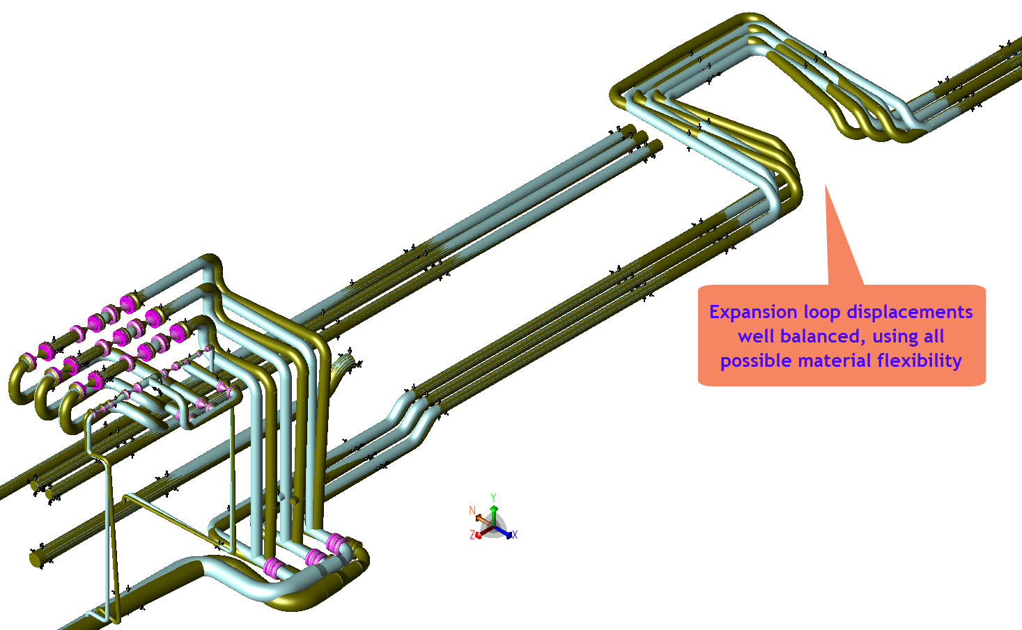 Motion of pipes in the pipe rack with elevated risers. Attention is paid to  optimizing the design of the loop while keeping motions and loads in the  rest of ...